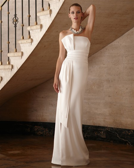this bridal line features gorgeous asymmetrical satin gowns