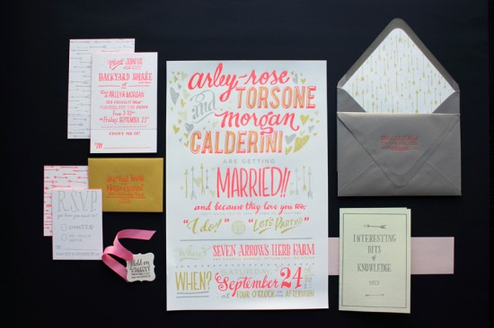 Ladyfingers Letterpress made these fun exuberant wedding invitations